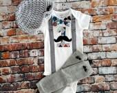 Mustache Baby Boy First Birthday Outfit - Little Man, Birthday Bow Tie Bodysuit, Button Leg warmers, Hat, Cake smash, 1st Birthday, Argyle