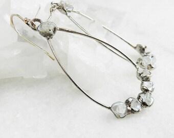 SALE ON SALE Keshi pearl earrings, Hoop earrings, Silver earrings, Celestite earrings