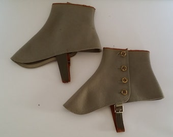 Vintage Grey Wool Felt Spats with Buttons and Leather Trim and Straps, Steampunk