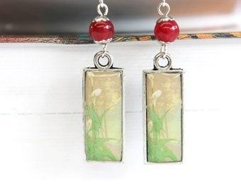 Art resin earrings with art nouveau prints