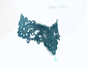 Teal Lace Choker Necklace - Victorian Collar - Romantic Handmade Jewelry - Wedding, Bellydance, Summer, Costume