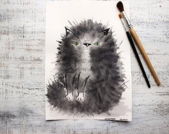 Original cat watercolor painting black cat kitten 8x12' watercolor nursery art