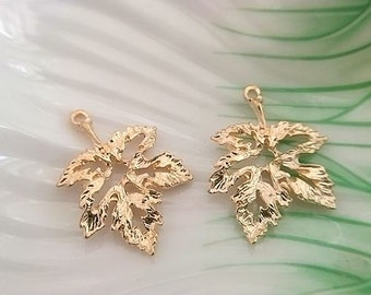 10 pcs gold plating leaves  connector pendant finding