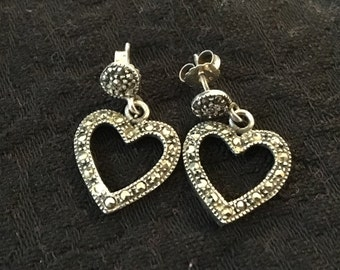 Marcasite  Heart Earrings.