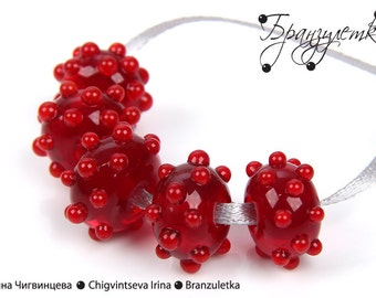 Set of 5 pieces red transparent glass lampwork bead - bulging Bright red drops - for jewelry
