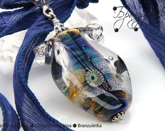 Water of Life  - artisan lampwork bead 3D - clear glass shimmering blue sky blue transparent - silk ribbon
