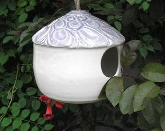 Ceramic Birdhouse in White and Lavender - Bird Feeder - home decor
