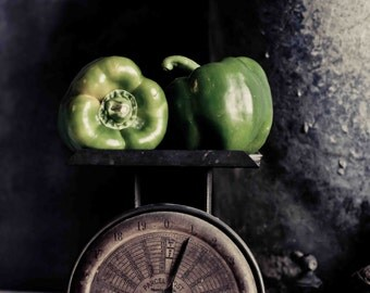Food Photography, Pepper Photo, Black and White Photography, Still Life, Rustic, Kitchen Wall Decor, Fine Art Photography, Vegetable Photo