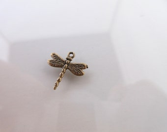 Pure Bronze Dragonfly charm Artisan style 12mm x 13mm--antique bronze boho chic charm bracelets nature charm transformation DF03-B