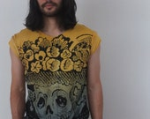 Art Skull Day of the Dead Print T-shirt M