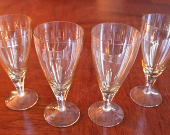 OOAK Vintage Sherry Glasses Set Of 4 Hand-Etched Crystal Sherry or Port Glasses, wedding anniversary birthday gift, housewarming gift