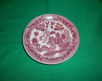 """One (1), 5 7/8"""" Tea Cup Saucer, Made in Japan, in the Pink Willow Pattern."""