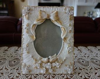 Vintage Picture Frame, Hand Painted, White, Gold, Upcycle Vintage, Glass, Easel Back, Resin, Frames, Home Decor, Photo Frame, Wedding Frames