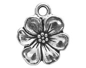 3 TierraCast Apple Blossom 11/16 inch ( 17 mm ) Silver Plated Pewter Drop Charm