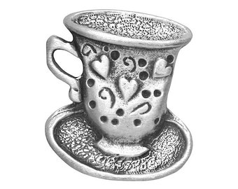 2 Teacup 13/16 inch ( 21 mm ) Pewter Buttons