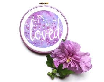 You Are SO Loved Purple Princess Nursery Decor, Girly Wall Art Baby Girl Nursery Embroidery Hoop Art, Lavender Girls Room Art Mom To Be Gift