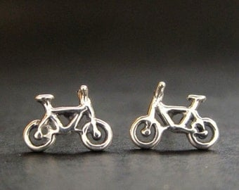 Bike earrings, Tiny Bicycle solid sterling stud earrings, Silver Bike posts, recycled gold made in USA