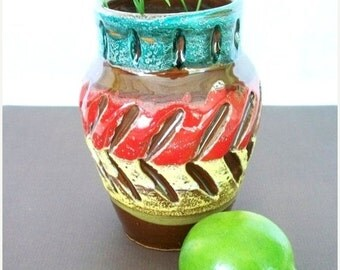 ON SALE Vintage Bright Multi Colored Sgraffito (Scratched Or Incised) Pottery Vase from Italy Mid Century Modern Vase Green, Red, Yellow and