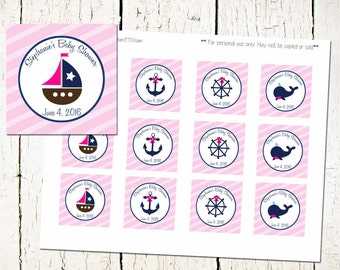 CUSTOM Nautical Party Circles- Nautical Baby Shower-Sea Theme Baby Shower