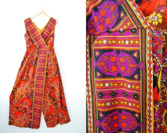 Vintage 60s 70s Paisley Retro Print Plazzo Pant Suit Jumpsuit Party Jumper