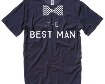 Custom Wedding T-shirts - The GROOM, The BEST MAN with Bow Tie