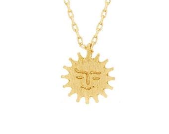 Solar Pendant Brass Necklace, Tiny Sun Necklace in Gold -Gold Sunshine Necklace, sun necklace,Gold summer necklace sun jewelry spring summer