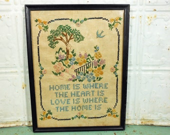 "Framed Cross Stitch Sampler ""Home is Where the Heart Is"" Front Porch Needlework"