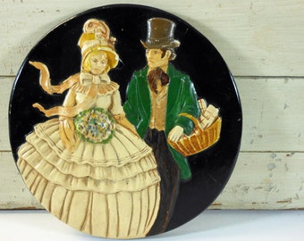Vintage Plaster Courting Couple Plaque Hoop Skirt and Top Hap Black and Green