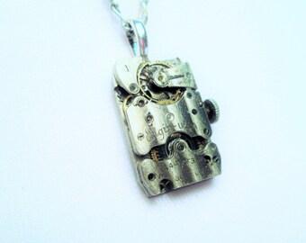 STEAMPUNK Necklace Vintage Silver ELGIN U.S.A. Wristwatch Movement Watch Parts GUILLOCHE Gorgeous Stripe Damaskeen Pendant by DKsSteampunk