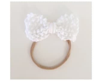 Knit Bow on Elastic band for Babies, White Knit Bow Headband