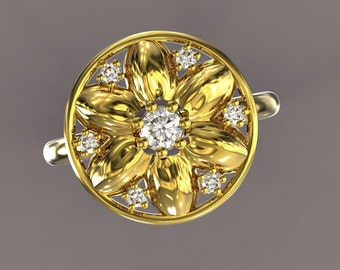 solid gold flower ring with diamonds