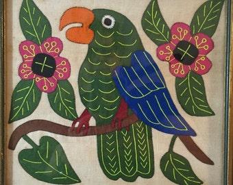 Vintage Framed Applique Art Picture Parrot Flowers Tropical Folk Quilted Primitive