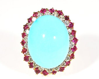 Ladies, Huge, Vintage, Estate, Hand Made, Turquoise, Diamond, Ruby, 22K, Yellow, Gold, Ring