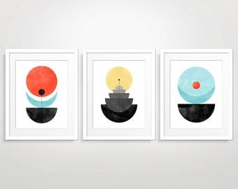 Geometric Wall Art Set of 3, Abstract Art Print, Mid Century Modern Art, Living Room Art, Modern Abstract, Geometric Art Print