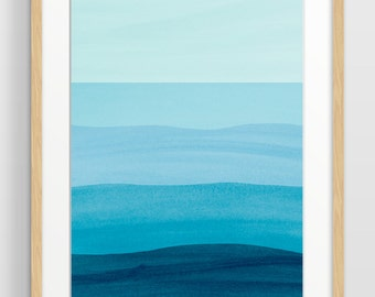 Large Abstract Wall Art, Ocean Art Print, Teal Wall Art, Modern Abstract Art, Minimalist Art, Abstract Watercolor, Oversized Art