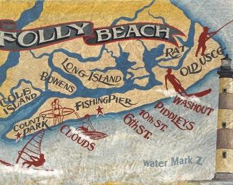 Folly Beach  SC coastal map  Print