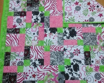 Lime green  and pink baby quilt