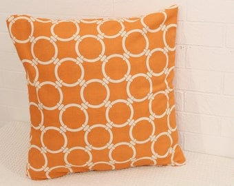 "17x17"" Orange and White Hoops Pillow Cover"