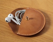Handmade-stitched Vegetable Leather Earphone case Cable organizer Earphone holder