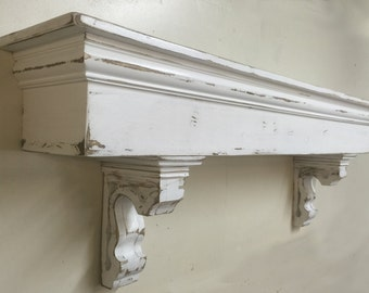 French Country Mantle with corbels, Large Mantle, Wooden Corbels, Floating shelf and corbels, Custom Mantle and Corbels,