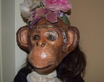 Paper animal masks Monkey mask Monkey costume Paper mache monkey mask Masquerade mask Carnival mask Fancy dress Face mask
