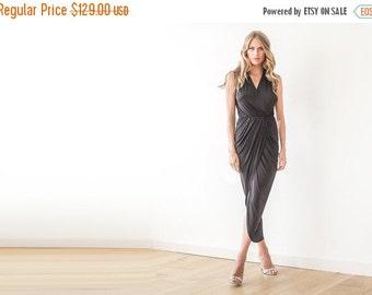 Black wrap maxi gown , Black tulip maxi dress , Sleeveless maxi gown