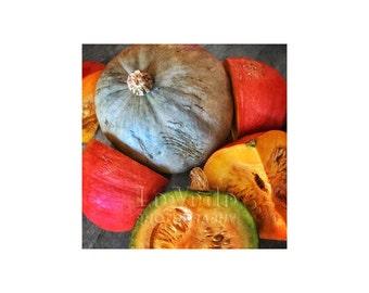 Food Photography, Kitchen Art, Squash, Pumpkin, Autumn Colors, Harvest, Home Decor, Farmers Market
