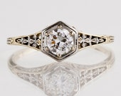 Antique Engagement Ring - Antique 1910s Platinum & 14k Gold Diamond Engagement Ring