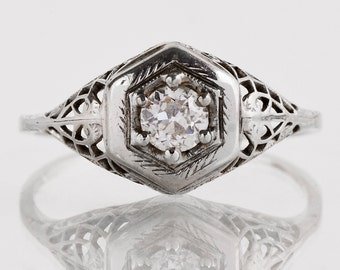 Antique Engagement Ring - Antique Diamond Ring - Edwardia 18k White Gold Filigree Diamond Engagement Ring