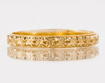 Antique Wedding Band - Antique 1910's 14k Yellow Gold Etched Flower Eternity Wedding Band