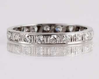 Antique Wedding Band - Antique 1920s 18K White Gold Diamond Eternity Band