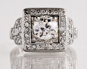 Antique Engagement Ring - Antique 1920s Art Deco Platinum Diamond Engagement Ring
