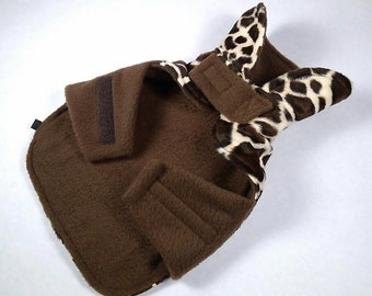 Premium Giraffe Velboa Silky Fur Dog Coat - EXTRA SMALL - Adjustable with Velcro, Lined, Polar Fleece, 2-layer