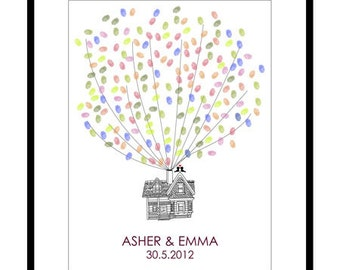 Wedding Guest Book Alternative - Personalized Flying Up House Fingerprint Guest Book Poster - Canvas or Paper - Free Gift with Purchase